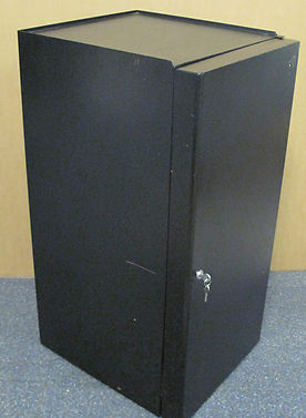 Single Shelf Black Steel Locking Comms Audio Cabinet with